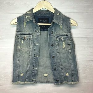 Silver Jeans Co. Distressed Denim Vest